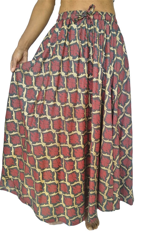 Cotton Dark Red and Gold Print Skirt