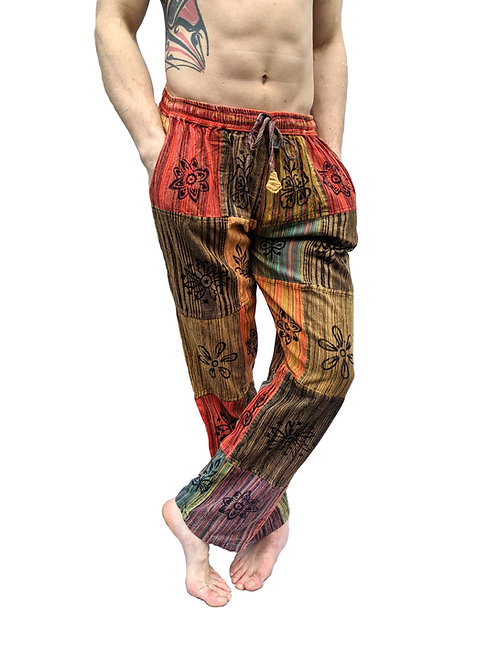 Patchwork Stonewash Brown Overdye Blockprint Trousers