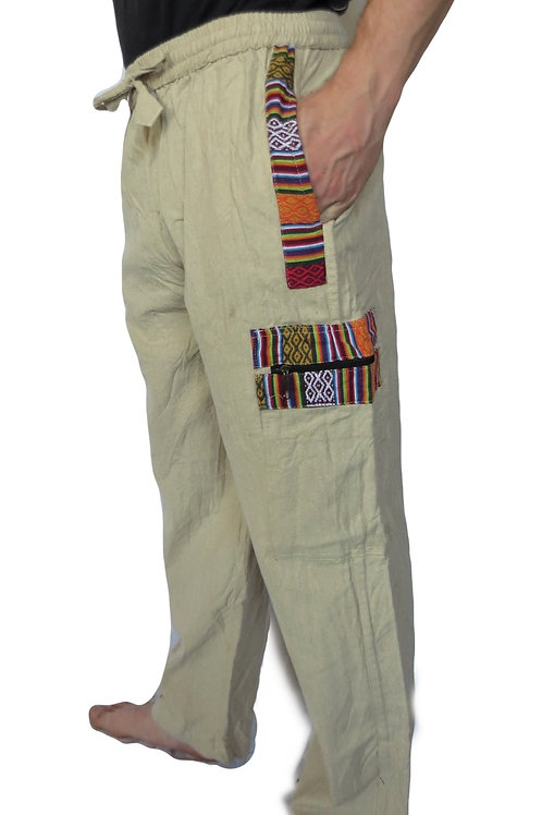 Heavy Cotton Straight Leg Nepal Trim Trousers (in 3 colours)