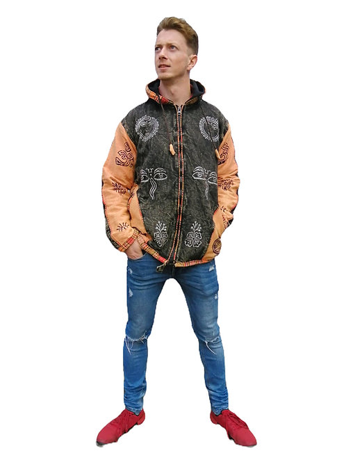 Two Colour Block Print Jacket Fleece lined (in 2 colours)