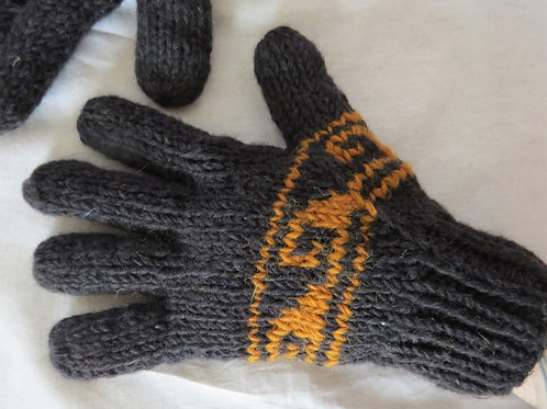 Two Colour Wool Finger Gloves Fleece Lined (in 2 Colours)