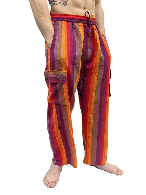Rainbow Woven Cotton Box Pocket Trousers (can be worn full length or 3/4 length)