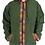 Thumbnail: Dragon Green Blockprint Trim Zip Jacket Fleece Lined