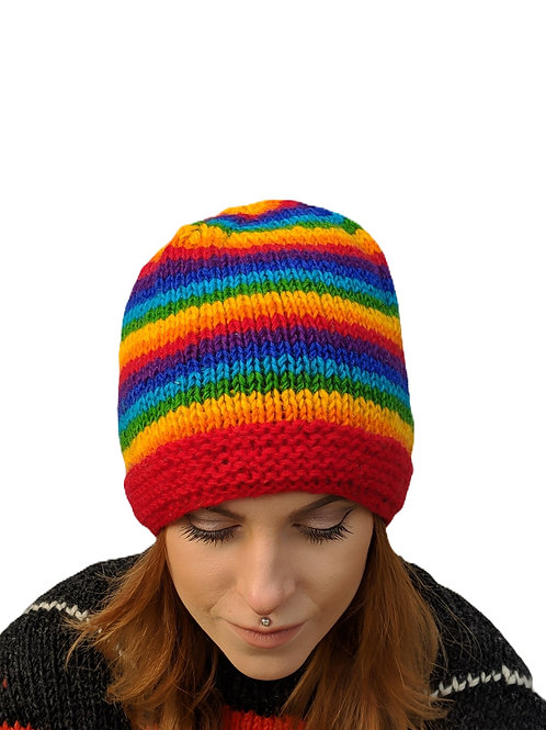 Women's Ribbed Striped Rainbow Beanie Wool Hat