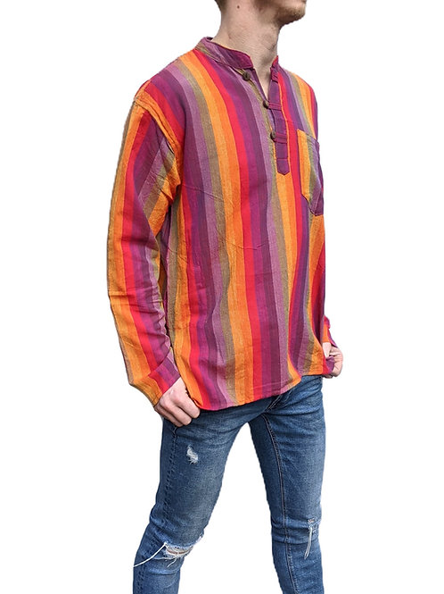 Rainbow Striped Long Sleeve Woven Cotton Shirt