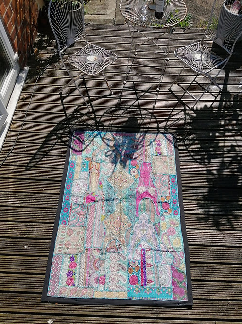 Extra Large Upcycled Embroidery Turquoise/Pink Tones