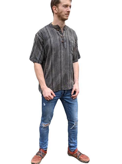 Grey Tones Woven Cotton  Nepal Stripe Stonewash Short Sleeve Shirt
