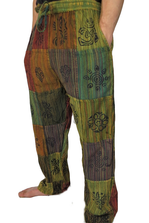Patchwork Blockprint Trousers (in 2 Colours)