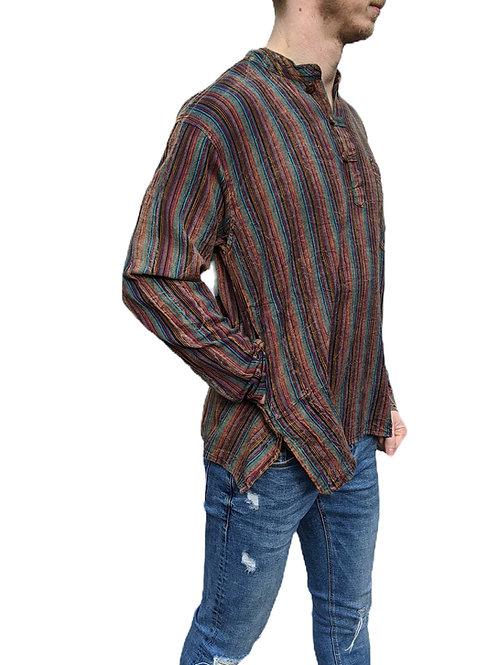 Multi Dark Green/Red Nepal Stripe Stonewash Cotton Long Sleeve Shirt