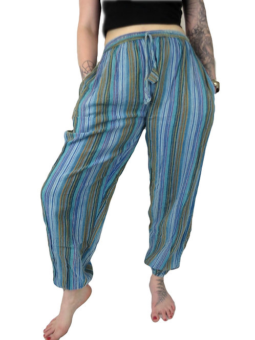 Stripe Stonewash Elastic Bottom Trousers (in 5 colours)