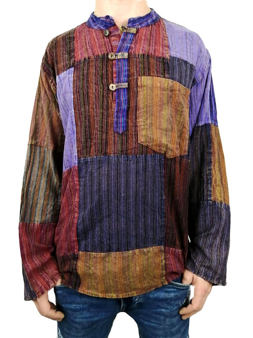 Patchwork Stripe Stonewash L/S Cotton Shirt (Available in 2 colours) SH318