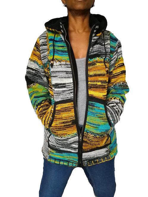Patchwork Mustard Multi Wool Jacket Fleece Lined