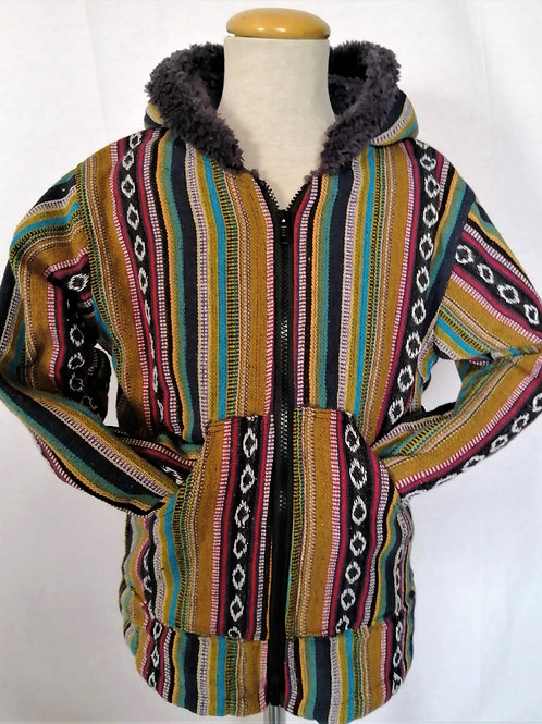 Childrens Striped Giri Fur Lined Jacket