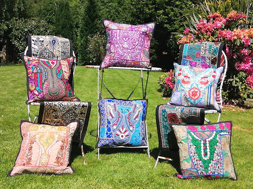 Cushion Cover (or Wallpiece) Vintage  Embroidery Patchwork 1