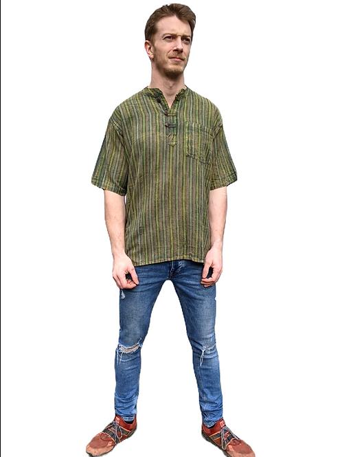 Green Tones Woven Cotton  Nepal Stripe Stonewash Short Sleeve Shirtr