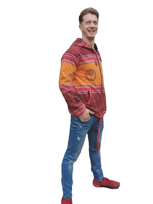 Fleece Lined Blockprint Cotton Stripe Shyama Zip Jacket