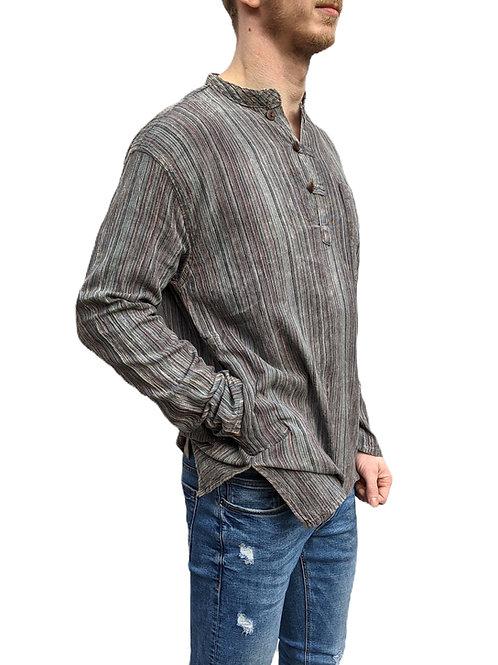 Dark Grey Nepal Stripe Stonewash Cotton Long Sleeve Shirt