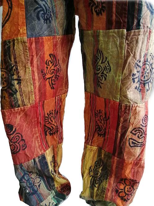 Heavy Cotton Patchwork Elastic Bottom Blockprint Trousers