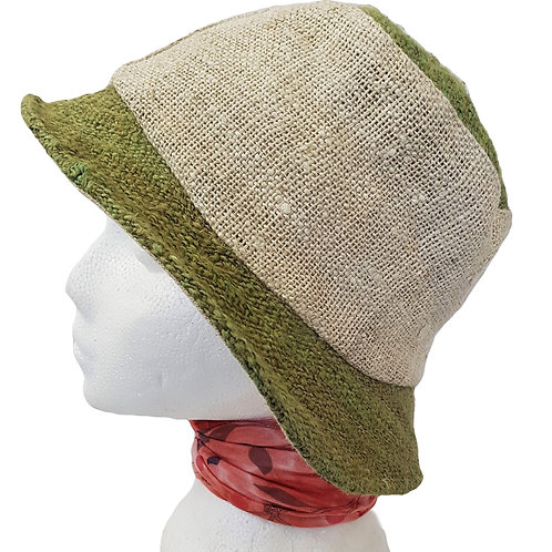 Hemp Cotton Two Tone Bucket Hat (Unisex)