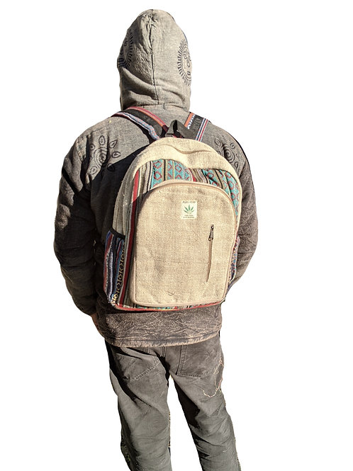Backpack Hemp Cotton Plain with Side Zip (in 2  Colours)