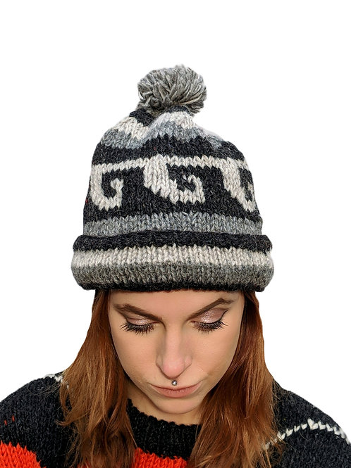 "Bobble Wool Hat ""Naturals Elephant"" . Fleece Lined"