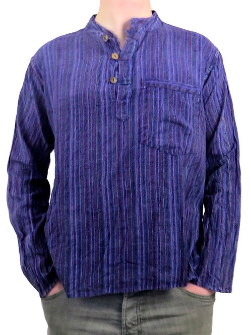 Nepal Stripe Stonewash L/S Cotton Shirt (Available in 3 colours)
