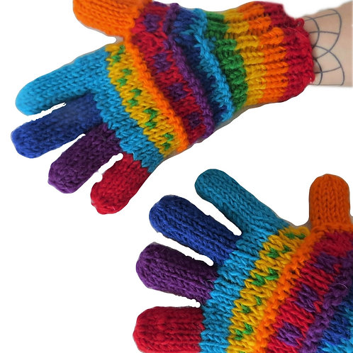 Rainbow Finger Gloves Fleece Lined