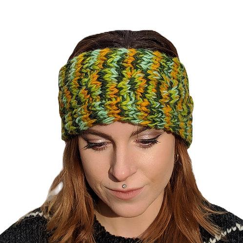 "Headband ""Spring Lime"""" Wool and Fleece."