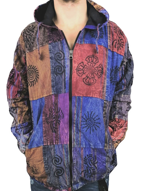 Blockprint Stonewash Patchwork Jacket Cotton Lined