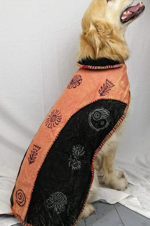 2 Tone Blockprint Heavy Cotton Fleece Lined Dog Jacket