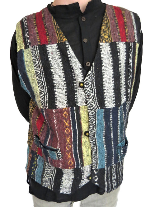 Patchwork Brush Cotton Waistcoat
