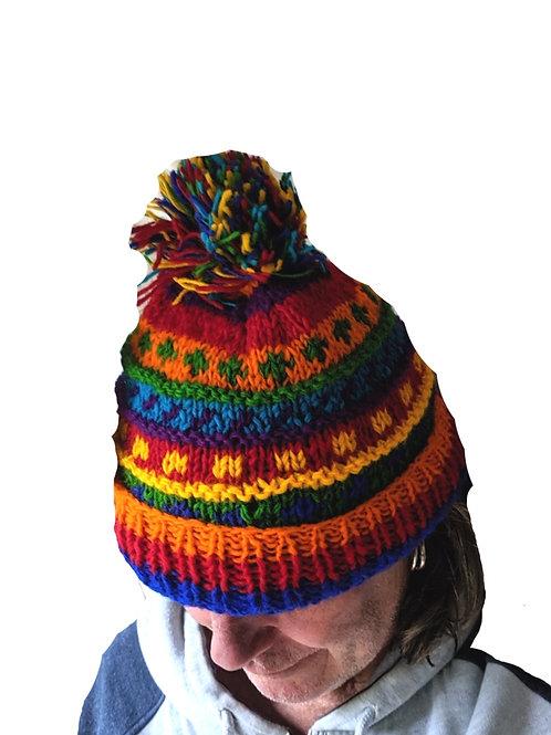 """Bobble Wool Hat """" Rainbow Spot"""" Fleeced Lined."""