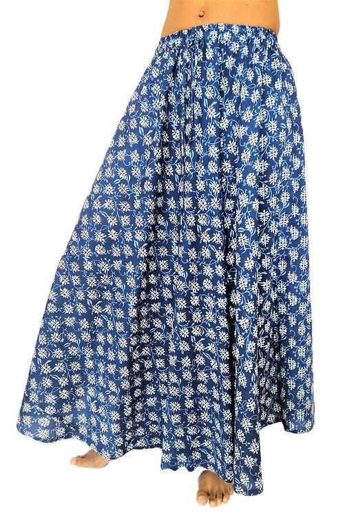 Cotton Blue Jaipur Leaf Print Skirt