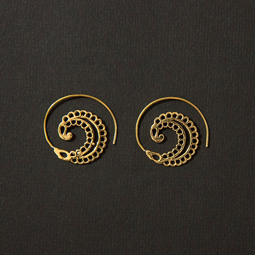Brass Tribal Leaf Spiral Earring