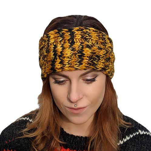 """Headband """"Mustard Tiger"""""""" Wool and Fleece."""