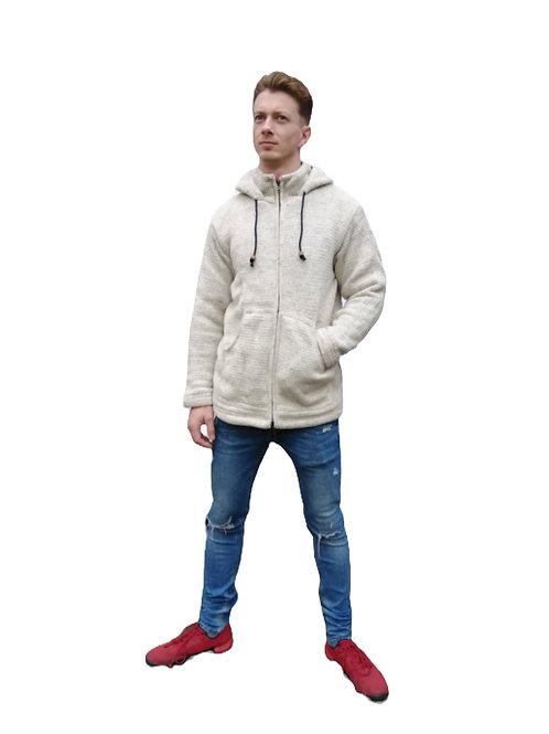 Light Grey Wool Jacket Fleece Lined and Hood