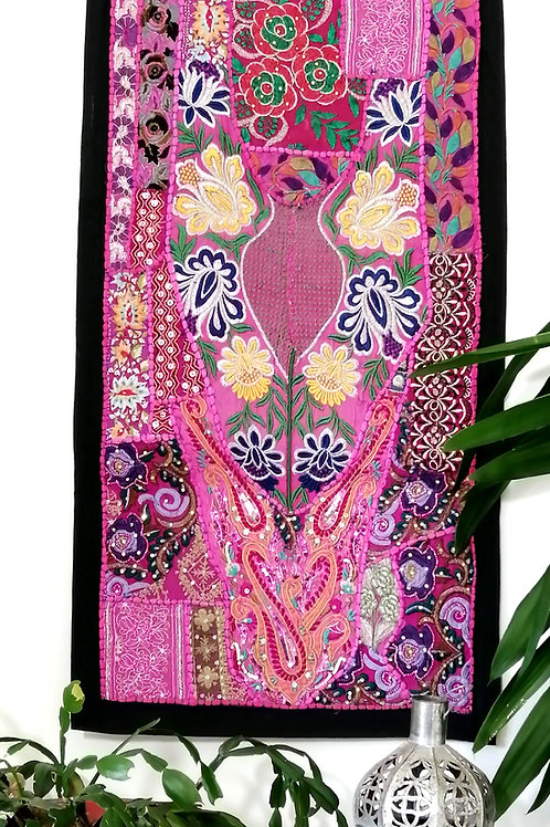 Small Pink Flower Design Upcycled Embroidery Hanging
