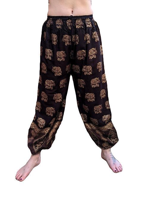Elastic Bottom Gold Elephant Print Rayon Trousers