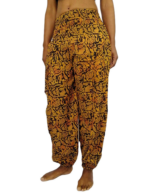 Rayon Black Orange Abstract Print Natan Trousers