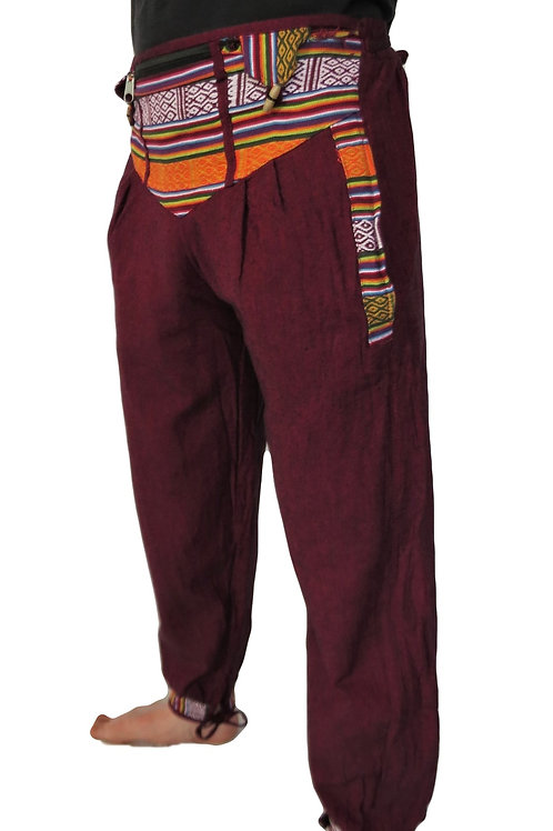 Nepalese Light Cotton Trim Trousers with Tie Strings