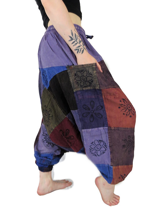 Patchwork Block Print Unisex Afghan Trousers