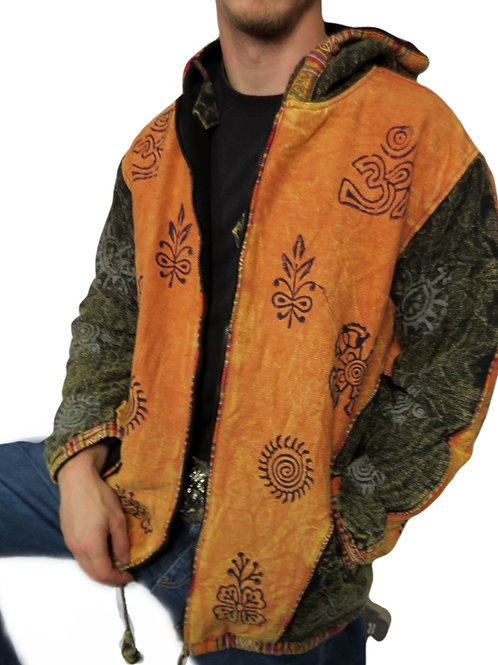 Two Colour Block Print Jacket Fleece lined (in 3 colours)
