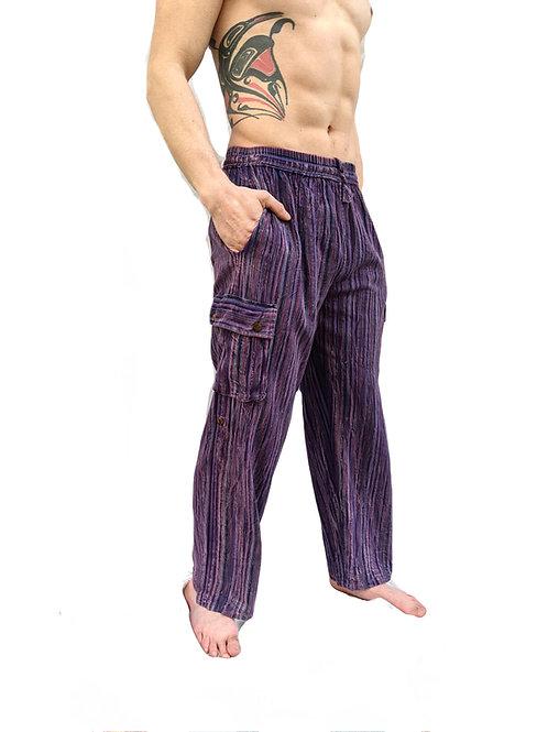 Purple Nepal Stripe  Stonewashed Overdyed  Box Pocket Trouser or Culotte