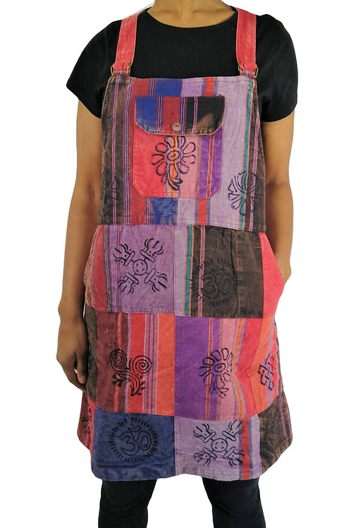 Dungaree Patch Print Dress with Pockets