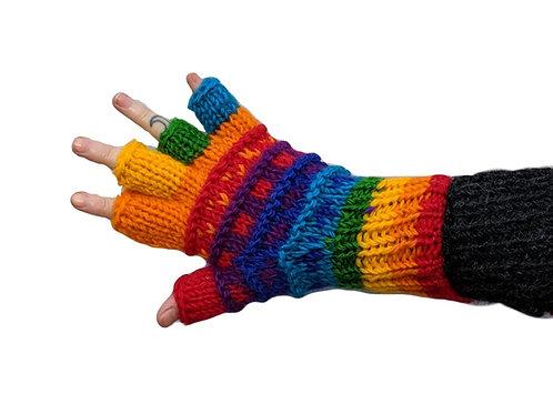 """""""Rainbow Dot"""" Fingerless Gloves Fleece Lined"""