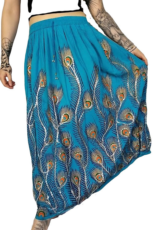 Peacock Embroidered Skirt (in 4 Colours)