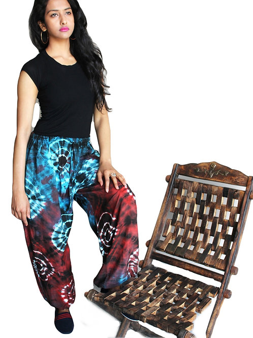 Circle Tie Dye Side Pocket Elastic Bottom Balloon Trousers (in 3 Colours)