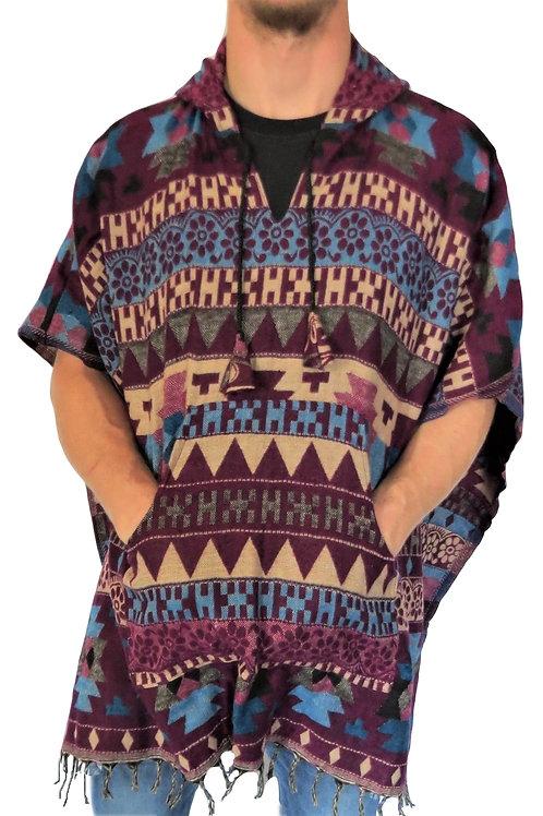 """Acrylic """"Feels Like Wool"""" Aztec Pattern Poncho (in 3 Colours)"""