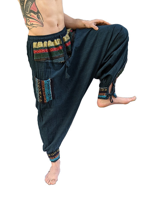 Afghan Hareem Unisex Baggy Woven Cotton with Brush Cotton Pockets and Trim