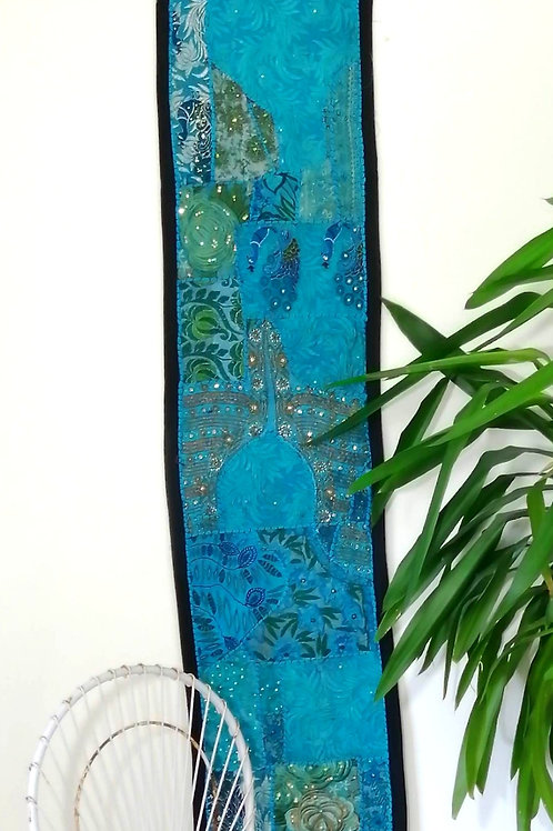 Runner Turquoise  Upcycled Patchwork Embroidery